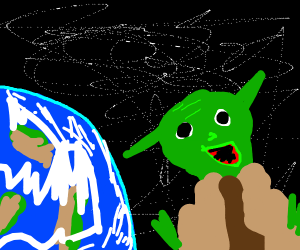 Retarded Yoda floating past earth