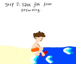 step one: go to the beach