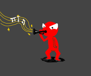 angry man w/ red skin plays the black trumpet