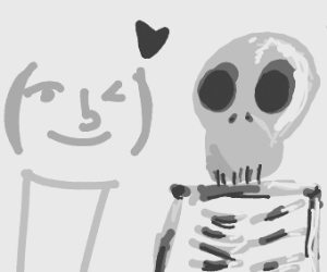 lenny face flirts with a skeleton