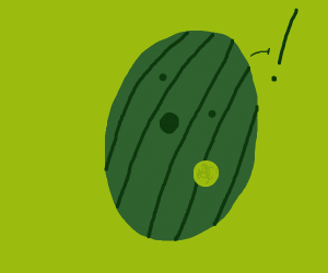 Surprised toxic watermelon