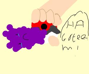 Pokeball sucking in sad purple balls