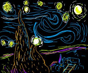 starry night but scary night
