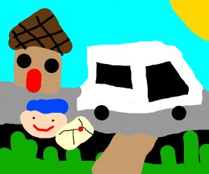 Postman and his van