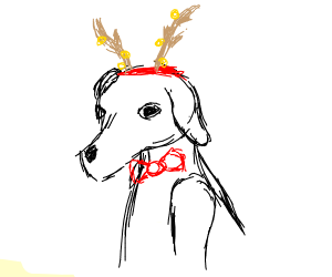 a dog wearing a deer antler and has a bow tie