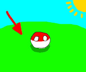 Poland Ball stands in meadow near a red arrow