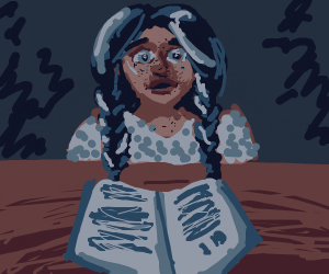 Angst girl reading a book at her desk