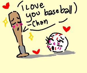 Anime baseball and baseball bat are in love