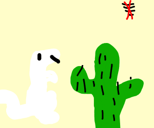 angry 3d no internet t-rex vaults over cactus