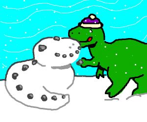 t-rex making a snowdinosaur