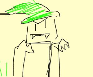 lil vampire elf goblin with green hat