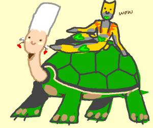 ZA WARUDO on top of Turtle Polnareff