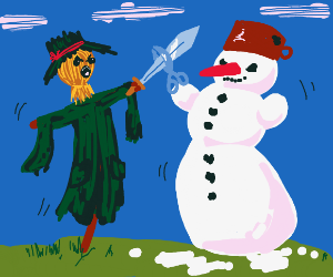 Scarecrow fighting a snowman