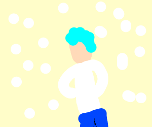 Blue haired guy in the snow