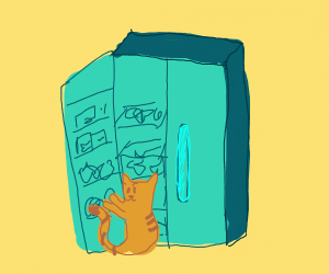 Cat finds the refrigerator left open.