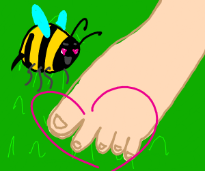 bee wants to pollinate some toes