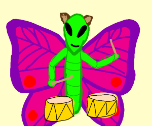 drum playing alien butterfly with furry ears