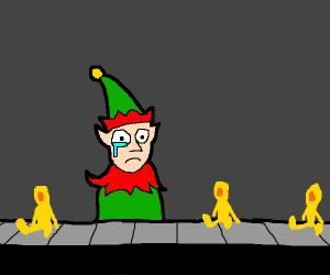 elves cry because Santa makes them work hard