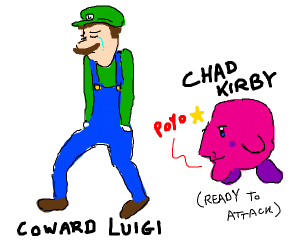 Kirby is about to attack coward Luigi in SSB