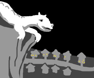 Dragon looking at suburban city