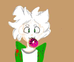 Nagito eating hope donuts