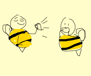 bee shows off her mug to another bee