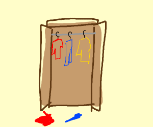 Open closet with clothes hanging