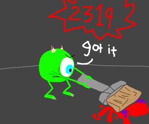 Green Monster kills girl with a brush