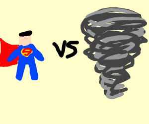 Superman fights a tornado