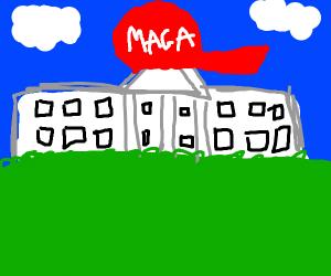 white house wears maga hat