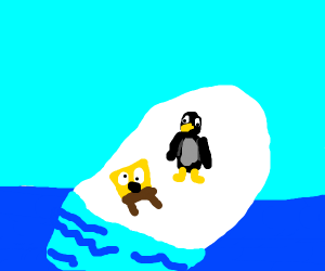 Spongebob on Club Penguin iceberg w/puffle