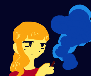 blonde girl smokes