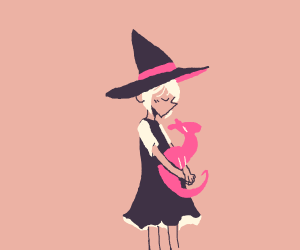 Cute witch in love with dragon