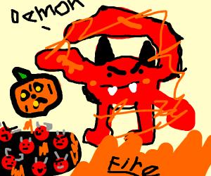 Demon gives jackolantern to a pit of demons
