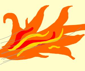 Trex breathing fire