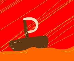 Sailboat in an orange juice sea (& tentacles)