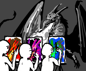 Artist draw same dragon in different colors