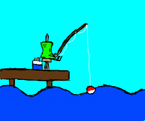 A drawing pin gone fishing