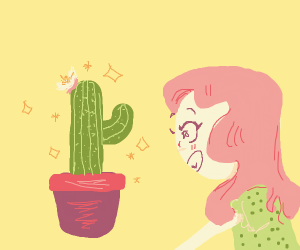 girl with pink hair amazed at cactus