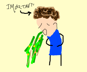 Guy with curly hair vomiting