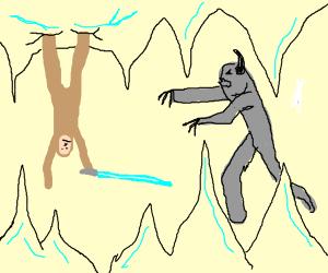 Luke Skywalker in the snowy cave w/ the monst