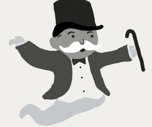 Monopoly man as a ghost