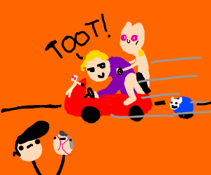 kira yoshikage driving a toddler car