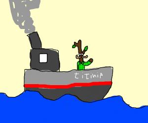 Stickman on boat