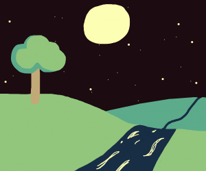 river and tree and moon