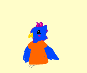 Birb with hooman clothes