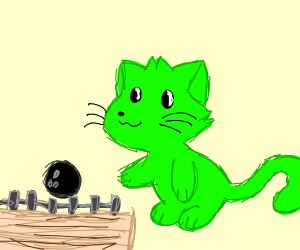 green cat goes bowling