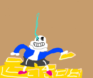 Sans on a pile of gold
