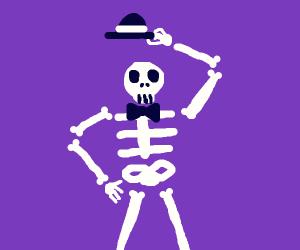 fancy skeleton is ready for halloween