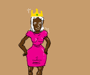 Lenny-faced black princess with white hair